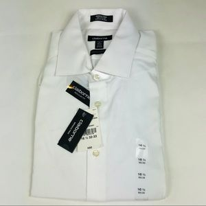 Claiborne Dress Shirt White Stripe 16.5 32/33 New